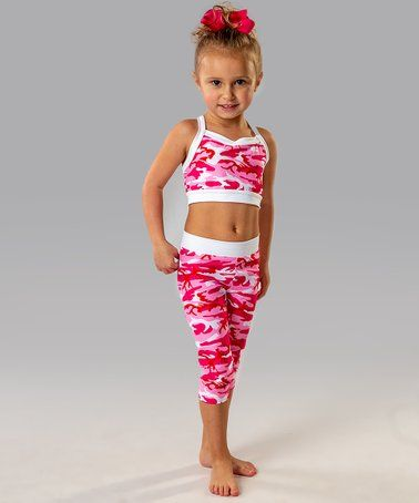 60816c780b8409 Another great find on #zulily! Pink Camo Cross-back Crop Top & Capri Set -  Toddler & Girls #zulilyfinds