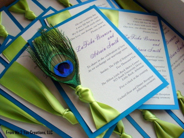Peacock Wedding Invitation by From Me 2 You Creations.