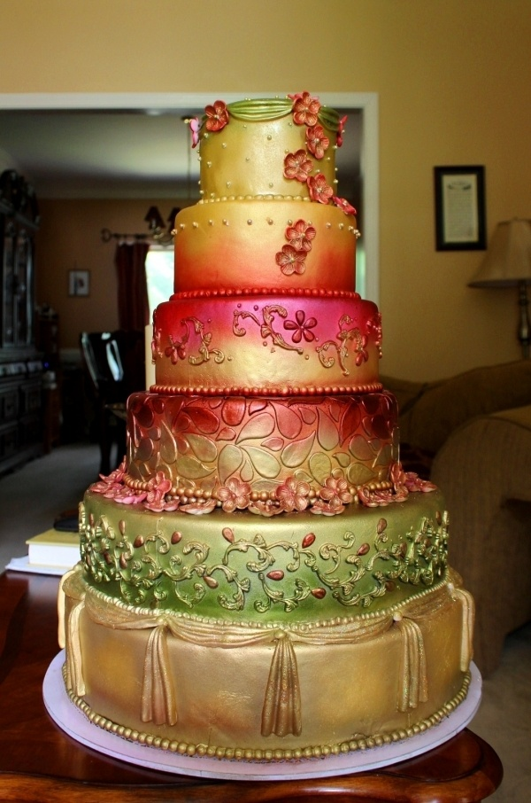 Indian design wedding cake