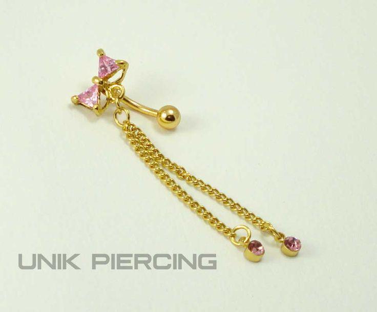 Piercing nombril inversé noeud plaqué or rose