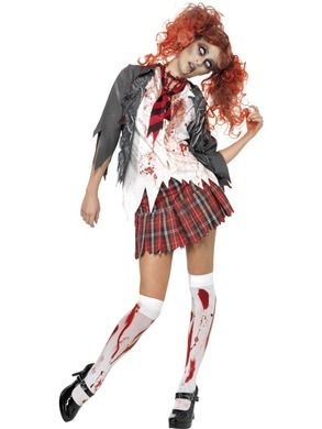 Zombie Koulutyttö. Tämän koulutytön opintaival on ainakin ulkonäön perustella ollut melkoisen raskas!