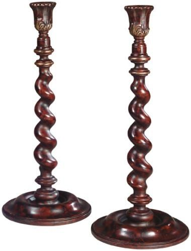 Candlestick TRADITIONAL Barley Twist Pair Resin New Hand-Cast Hand-Painte OK-625