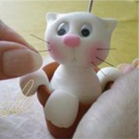 Photoholder Cat in a Pot - step by step Photo tutorial - Bildanleitung - Котенок - фигурка из холодного фарфора, мастер класс в картинках
