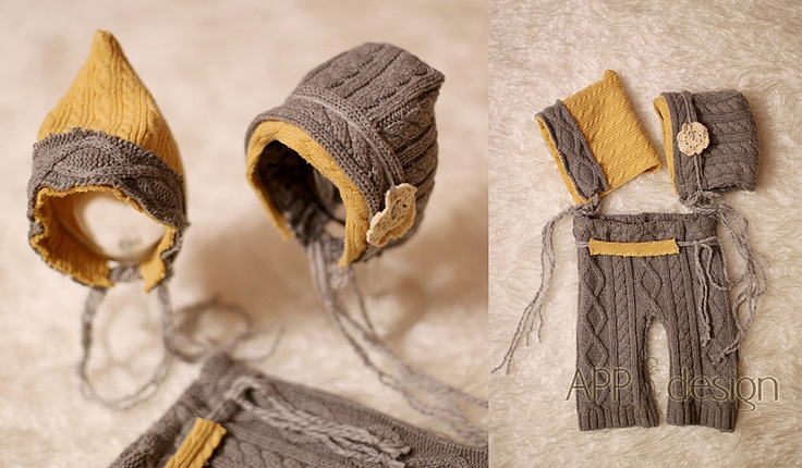 Image of Upcycled SET Unisex, Pants & 2 Bonnets, color grey, size 0-1 month