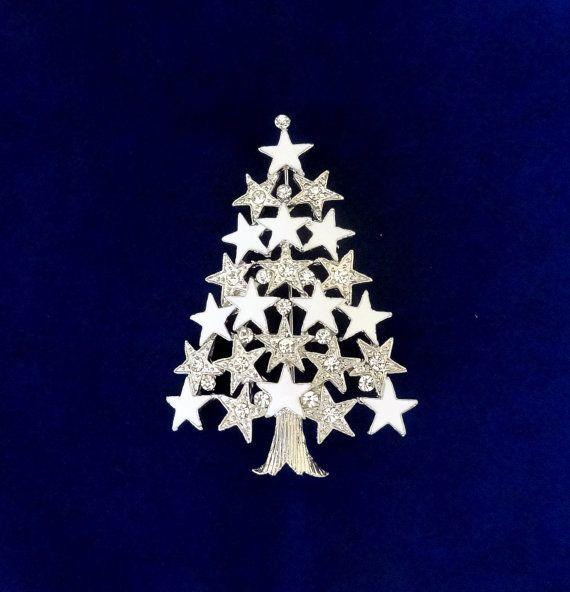50% On SALE White Christmas Tree Pin..Silver Christmas Tree