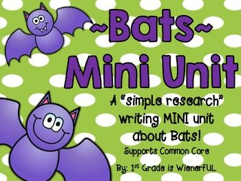 Bats Research Writing Are you getting ready to learn about Bats?! Then, this super cool mini unit is for you!!!! 50 pages of BATTY FUN!