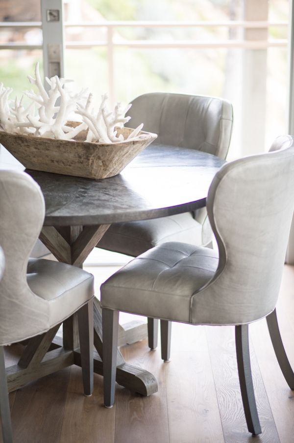 leather chair w/ pedestal table for dining room