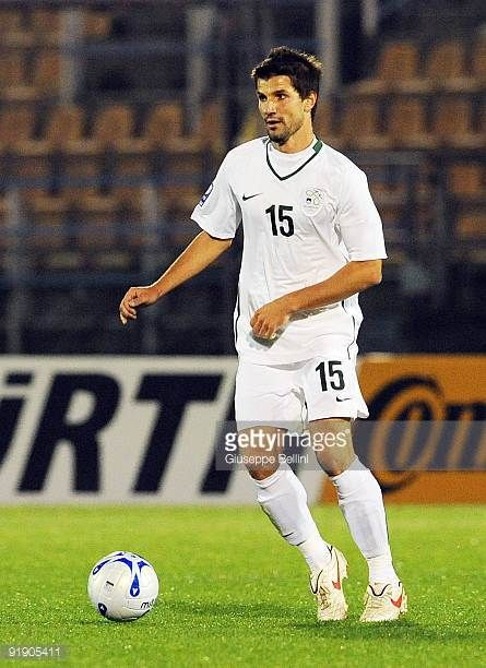 Dalibor Stevanovic of Slovenia in action during the FIFA 2010 World Cup Group 3 Qualifying match between San Marino and Slovenia at Stadio Olimpico...