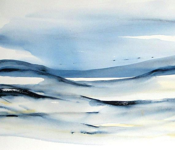 Original Watercolor Abstract Landscape Painting Large Abstract