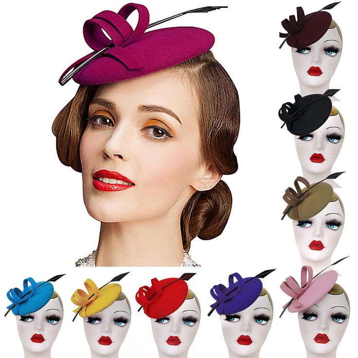 Details about A145 Ladies Curly Feather Felt Wool Fascinator Pillbox Tilt Cocktail Formal Hat – Fashion