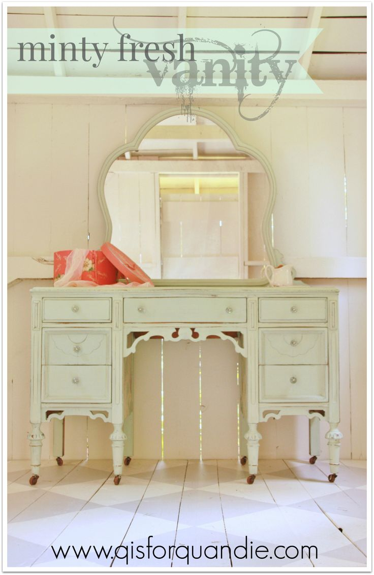 Layla 39 s mint custom mms milk paint mix vanity by q is for Very light mint green paint