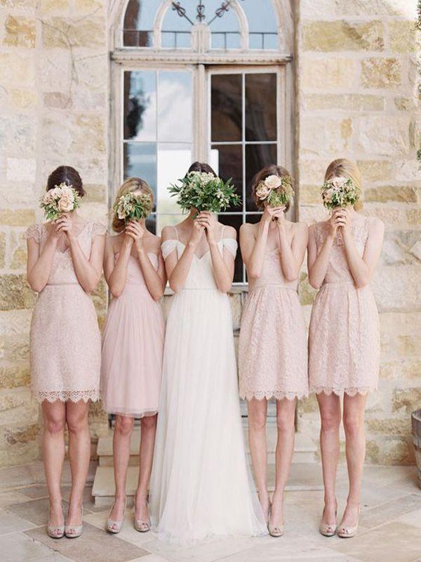 Short Bridesmaid Dress, Pink Lace Bridesmaid Dress, Open back bridesmaid dress, Knee Length bridesmaid dress, Simple bridesmaid dress, Rustic bridesmaid dress,dress for wedding party. PD008371