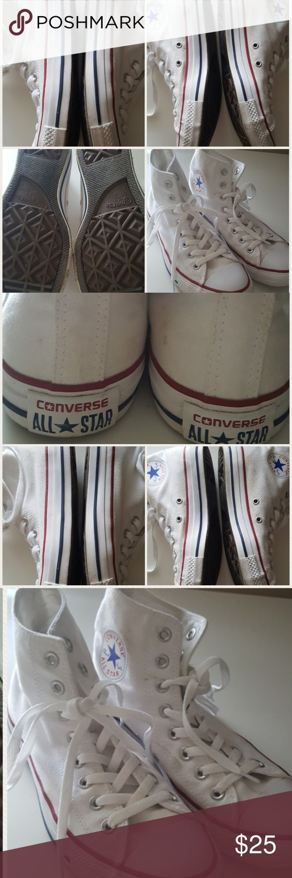 White Converse Chuck Taylor's White converse Chuck Taylor hi tops. 7m 9w. Great condition.  Bought on here and just never grab them.  Please understand these are not new, but worn. They may just need to be thrown in the wash. Be sure to follow me because I'll be uploading hundreds of items over the next few days. Please ask me anything. I'll be happy to help Converse Shoes Sneakers
