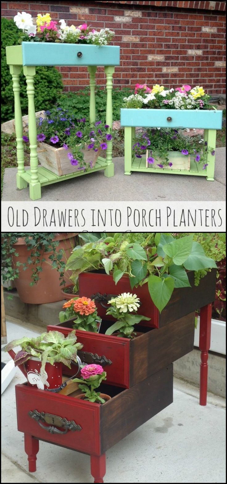 Got a broken dresser? Maybe you've seen a set of drawers discarded on the street. Those drawers can serve as beautiful planters in your porch!  http://diyprojects.ideas2live4.com/2015/11/09/turn-old-drawers-into-porch-planters/  Your imagination and creativity are the only limits when turning an old set of drawer into a planter or two.  Do you want some drawer planters in your outdoor area?
