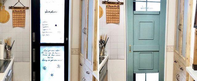 キッチン 勝手口のドアを隠す 内ドアをdiy 勝手口 ドア プラダン