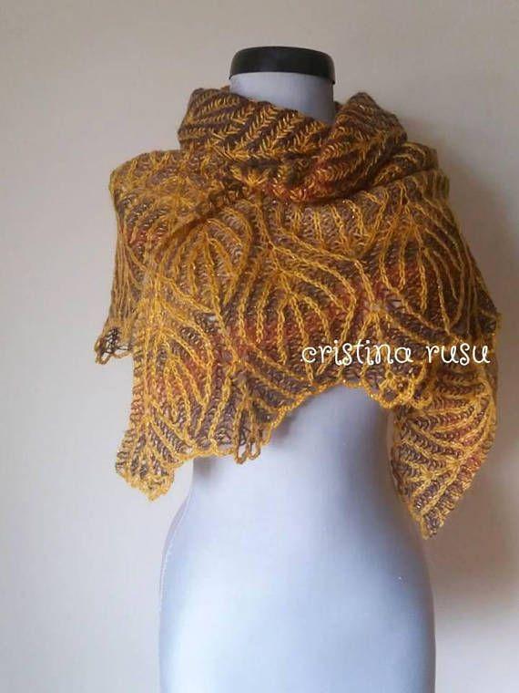 Handknit brioche triangle shawlMustard  Brown reversible