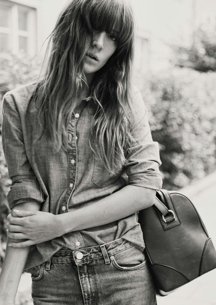Chambray button down and jeans, leather satchel- complete with straight-away bangs and messy bed hair... weekend is afoot.