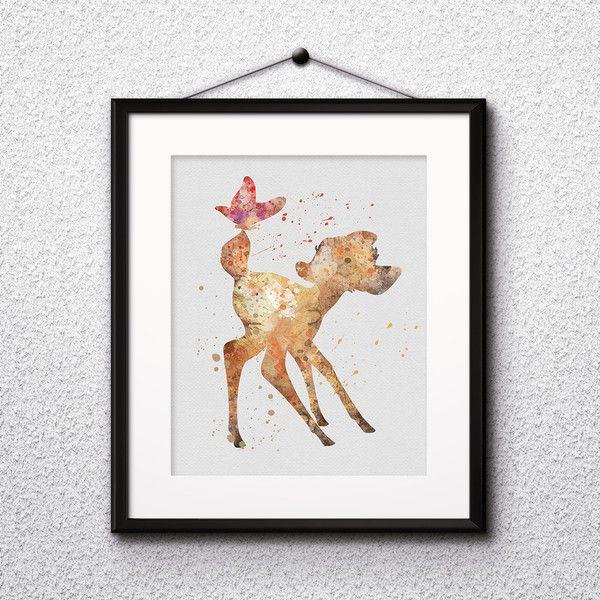 Children's Room Decor – Bambi disney Art Print Watercolor home decor  – a unique product by DigitalAquamarine on DaWanda
