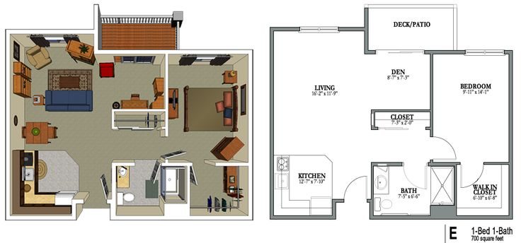 1 Bedroom 1 Bath 700 Sq Feet Png Png Bild 1014 475 Pixlar House Plans Floor Plans Senior Apartments