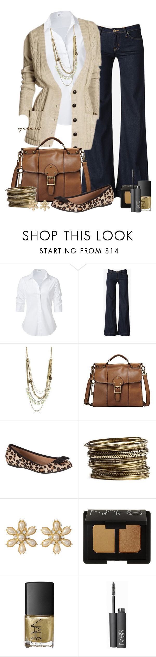 """Comfy Cardigan with Wide Leg Jeans"" by cynthia335 ❤ liked on Polyvore featuring Steffen Schraut, Hudson Jeans, Juicy Couture, FOSSIL, John Lewis, Stephan & Co., Amrita Singh and NARS Cosmetics"
