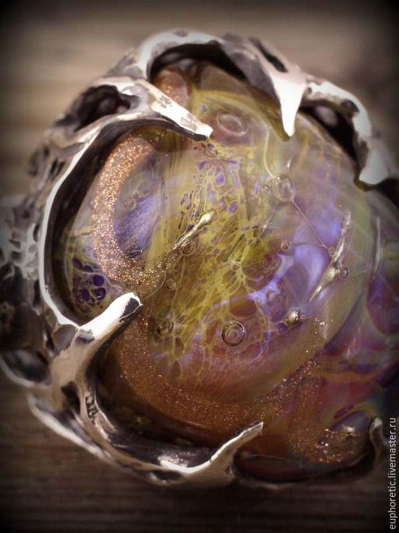 """Купить """"Атлас Вселенной"""" авторское серебряное кольцо лэмпворк - разноцветный, кольцо серебряное, кольцо крупное"""