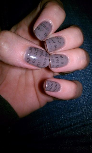 newspaper mani - High Society by Color Club as the base.