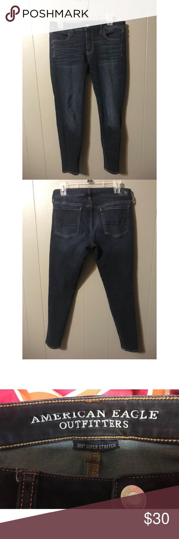 AEO 360 Super Stretch Jegging Gently worn, dark wash, American Eagle Outfitters 360 Super Stretch Jegging, Size 10 Short. Super comfy just too big on me now. American Eagle Outfitters Jeans Skinny