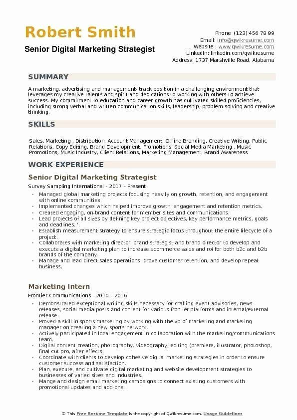 Entry Level Digital Marketing Resume Lovely Where Can I Find Best Resume Format For Digital Marketing In 2020 Marketing Resume Resume Examples Manager Resume