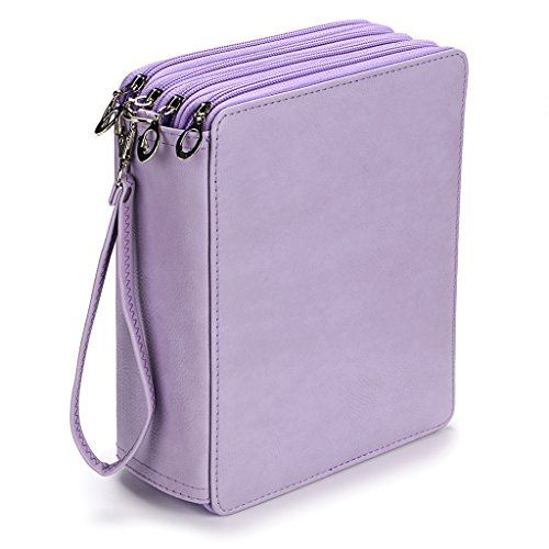 BTSKY 160 Slots Colored Pencil Organizer - Deluxe PU Leather Pencil Case Holder (Purple)