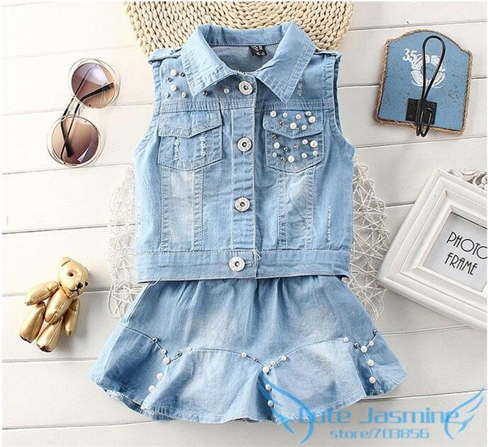 Trendy Jean Skirt Set