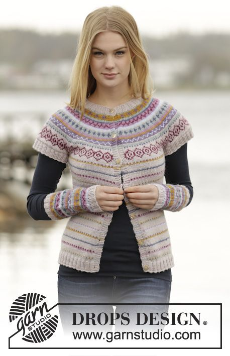 "Jacket with short sleeves with round yoke and multi-colored pattern in border in ""Karisma"". #knitting by #DROPSDesign"