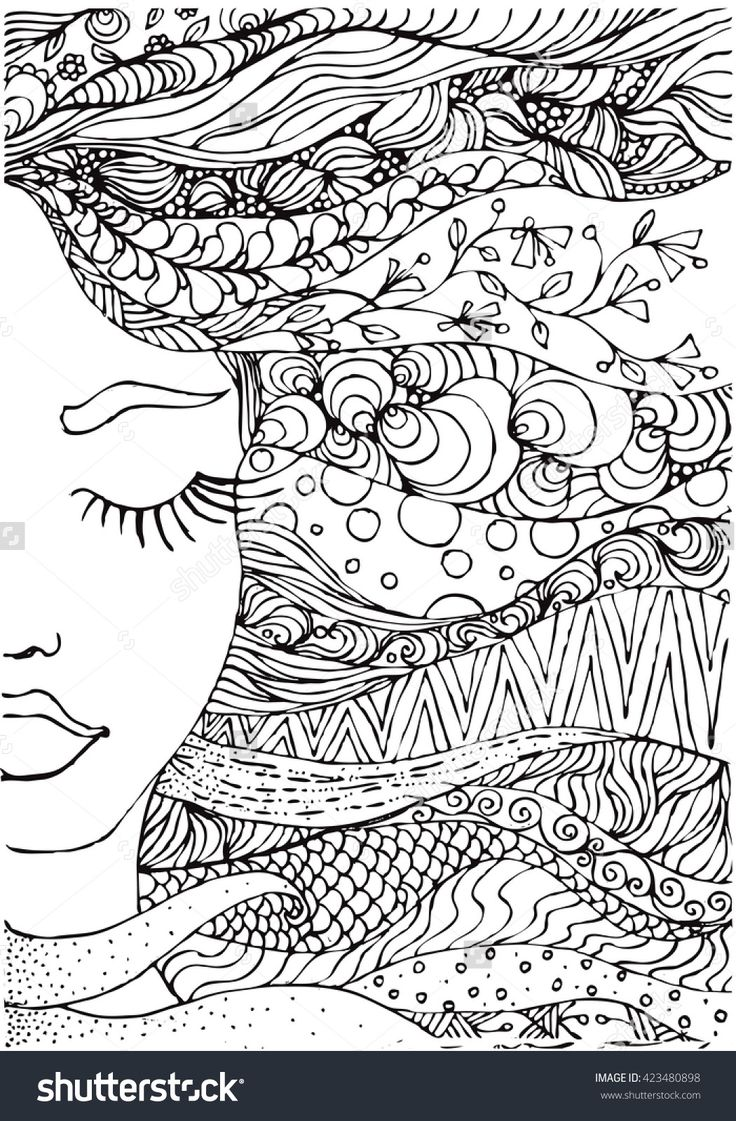 ink doodle woman's face and flowing coloring page zendala