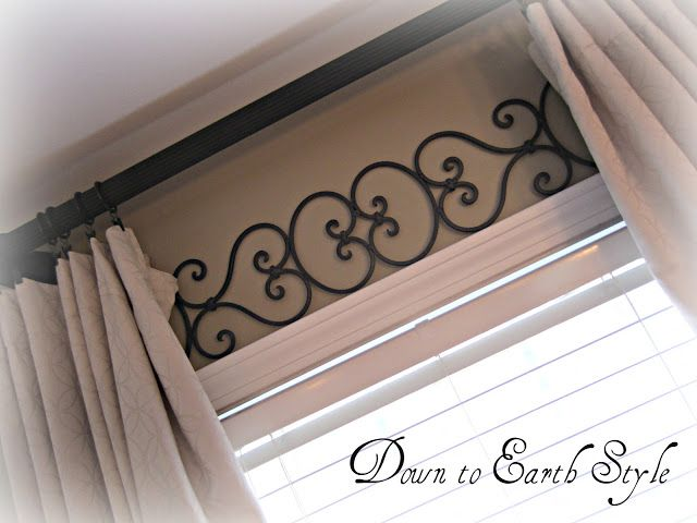 Metal work above windows- they don't need a valance then. Also this would be a great idea for drop cloth curtains I have planned for the bedroom