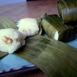 Indonesian Food: Lemper Ayam (sticky rice, spiced chicken, banana leaf)