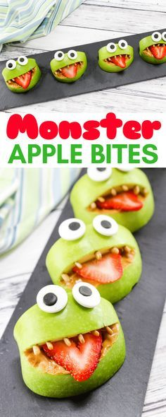 Made with apples, peanut butter, strawberries, sunflower seeds, and edible eyes, these Monster Apple Bites are a fun snack packed with nutrition! Perfect for Halloween or whenever you are looking for a fun snack idea for the kids. #kidsnacks #monster #afterschoolsnacks #funwithfood