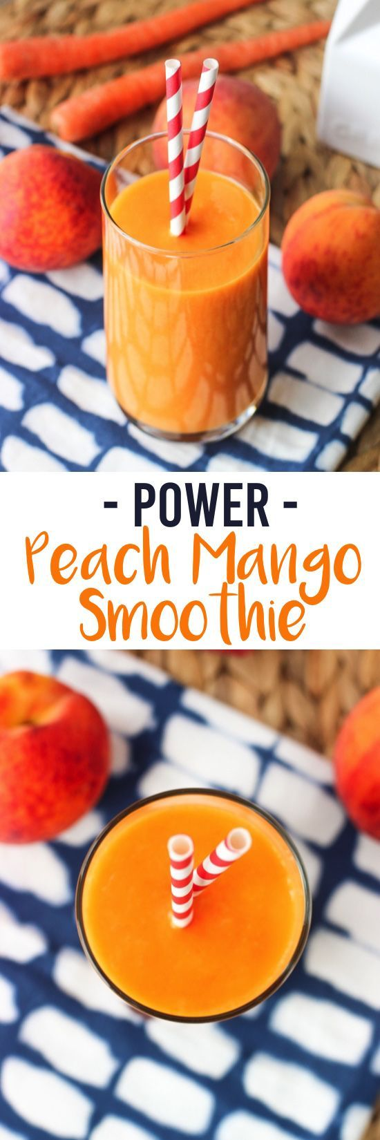 This peach mango smoothie features a sneaky vegetable and is satisfying and flavorful! The perfect healthy breakfast or pick-me-up snack.