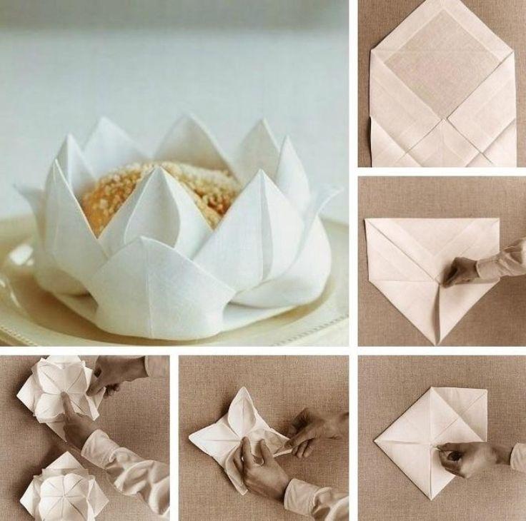 Bildanleitung lotusbl te aus papierserviette falten deko for Billige dekoartikel