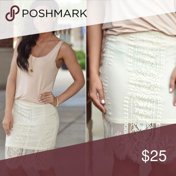 Gorgeous cream lace skirt Never been worn! Cream lace skirt. From Apricot Lane Boutique Skirts