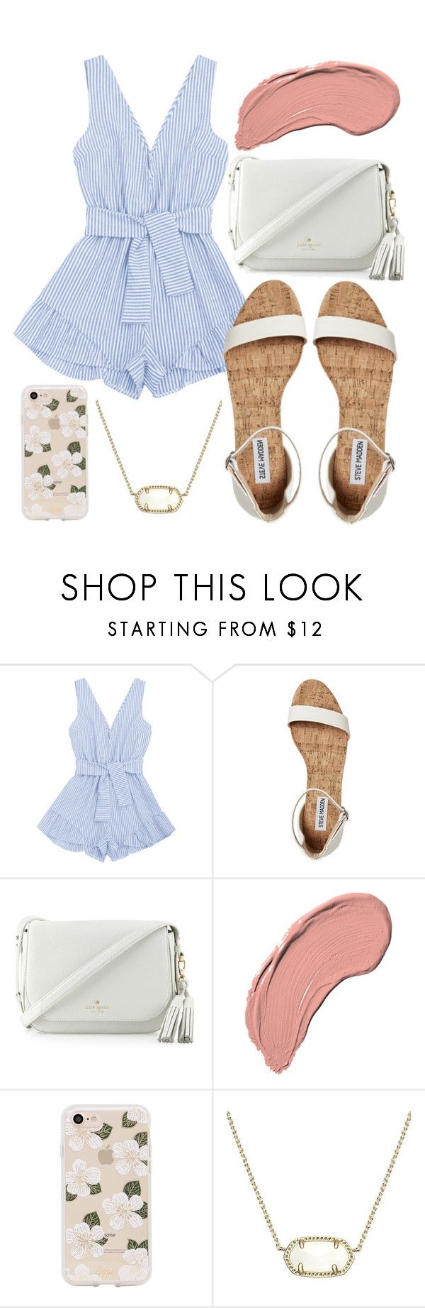 """Dinner date?"" by jadenriley21 ❤ liked on Polyvore featuring Kate Spade, NYX, Sonix and Kendra Scott"