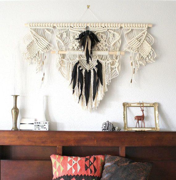 Tenture murale de macramé « Condor de Californie » par ART HIMO, l'une d'un art artisanal macramé/corde aimable