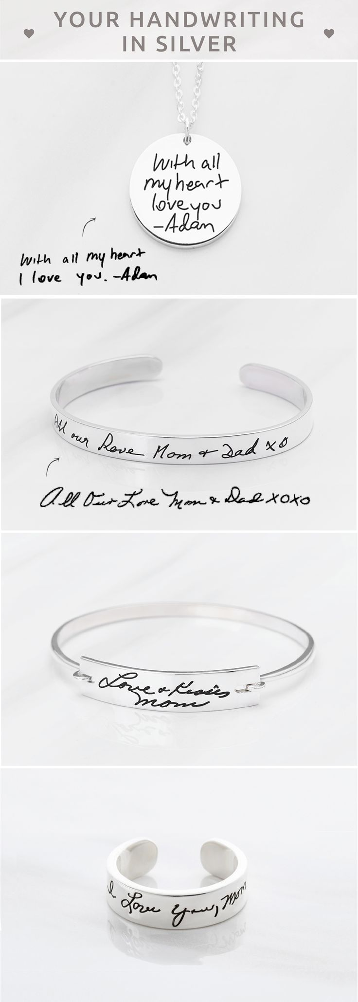 Handwritten jewelry • Engraved Handwriting Cuff • Cut-out Handwriting Bangle • Bar Handwriting Keychain • Heart Tag Handwriting Necklace • Handwriting gift • Custom Handwriting Jewelry Sterling Silver • Personalized handwriting jewelry • Memorial bracelet • Condolence Jewelry in Sterling Silver • Memorial jewelry for wedding • Memorial Gift • christmas gifts for gf • personalised engagement gifts for engaged couple • best birthday gifts for friends • christmas gift ideas for friends • good…
