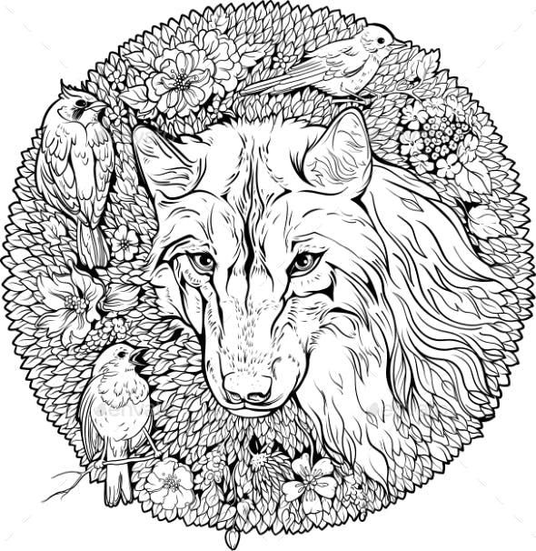 Graphicdesign Books: Coloring Page Wolf And Birds