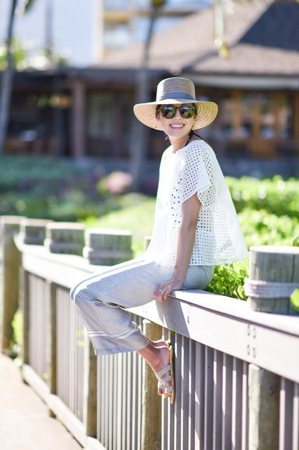 10 Stylish BBQ Outfits To Copy NOW  #refinery29  http://www.refinery29.com/fourth-of-july-blogger-outfits#slide-1  Anh from 9 to 5 Chic is giving us major poolside vibes in her Serena & Lily pants and Janessa Leone hat.