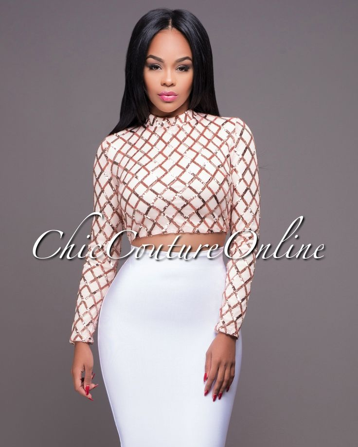 Chic Couture Online - Bardot Rose Gold Diamond Sequins Crop Top.(http://www.chiccoutureonline.com/bardot-rose-gold-diamond-sequins-crop-top/)