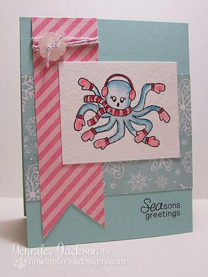 Octopus holiday card for newtons nook designs inky paws challenge 5