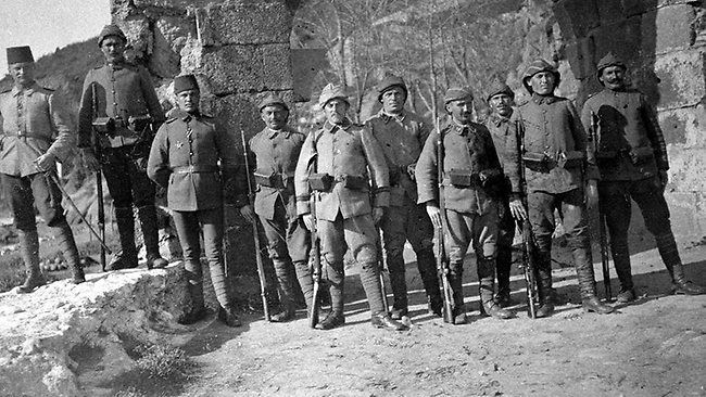 Turkish soldiers at Sedd el Bahr before the landings at Cape Helles Gallipoli on 25th April 1915