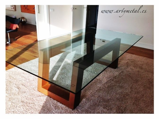 Mesa de diseño contemporaneo en acero cor-ten