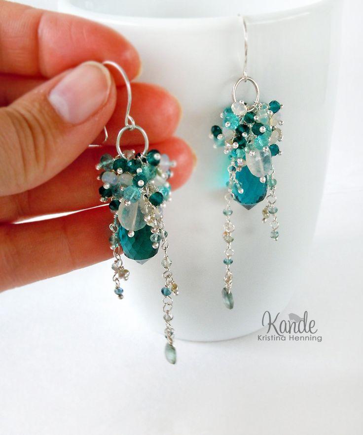Teal Blue Chandelier Earrings Wire Wrapped Aquamarine Topaz Moonstone Sterling Silver Long Gemstone Kande Jewelry. $260,00, via Etsy.