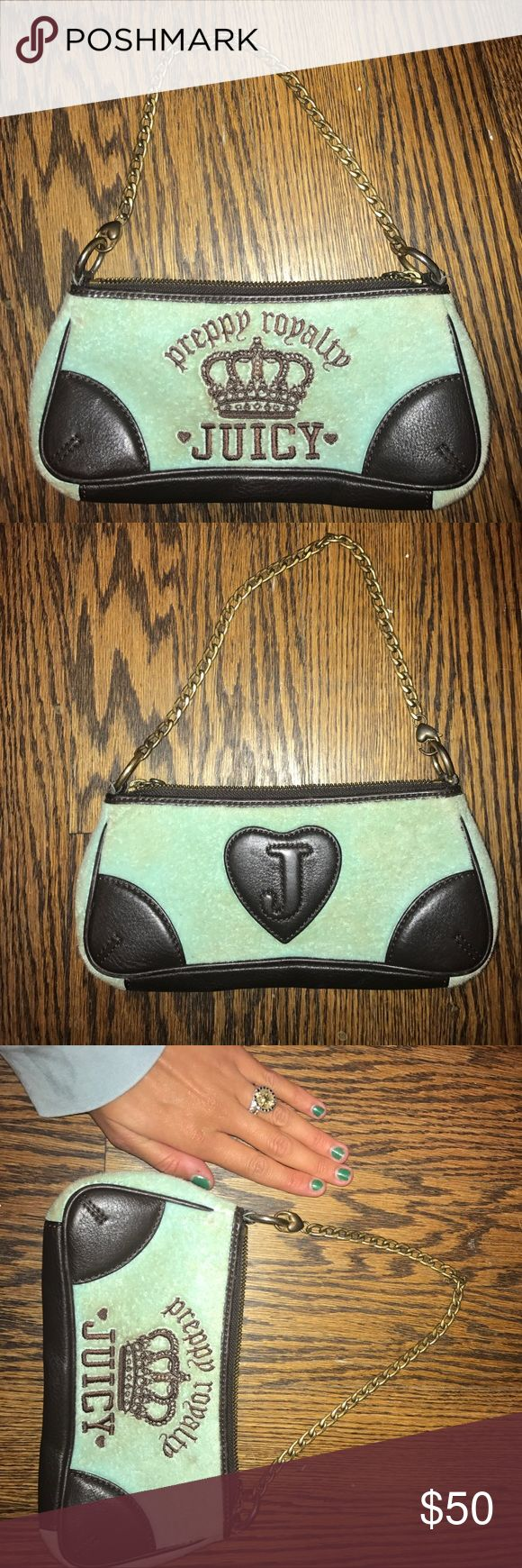 """Juicy Couture Purse Juicy Couture baby blue terrycloth purse with chocolate brown monogramming and leather. Gold chain and zipper. The front reads """"preppy royalty"""" then has a crown then under says """"JUICY"""". The back has a leather heart with a """"J"""" on it. Good condition. Some signs of wear on the terrycloth because it is so light (see photos) but the inside is like new! Super cute!!! Juicy Couture Bags Mini Bags"""