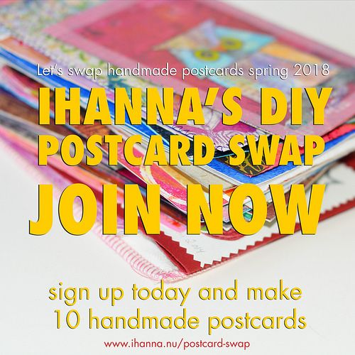 Postcard Swap Button for iHannas DIY Postcard Swap Spring 2018